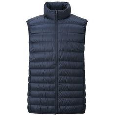 UNIQLO Ultra Light Down Vest ($52) ❤ liked on Polyvore featuring men's fashion, men's clothing, men's outerwear, men's vests, mens down vest and mens quilted vest