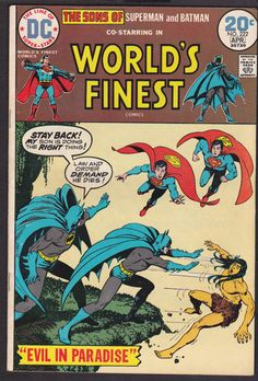 1973 Worlds Finest  Superman and Batman vintage used comic #222 apr.