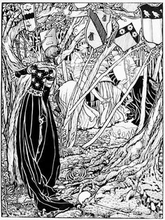 size: Giclee Print: An Illustration for Sir Lancelot Du Lake, 1898 by Eleanor Fortescue-Brickdale : Artists Art And Illustration, Black And White Illustration, Mists Of Avalon, Christian Warrior, Legend Of King, Most Popular Artists, Pre Raphaelite, Heart Art, Conte