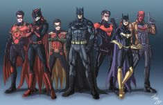 The Bat Family with their respective rebooted costumes. From left to right --> Red Robin (Tim Drake), Batwoman (Kate Kane), Robin (Damian Wayne), Bat.