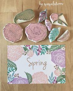 My pastel spring #bymamalaterre #handcarved #handcarvedstamp #handprinted #eraserstamp #floralstamp