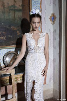 alon livne wedding dresses 2015 white bridal collection luisa sleeveless lace sheath wedding dress train slit skirt close up