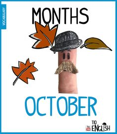 October, months in English. English Study, English Words, English Lessons, Learn English, Name Of Months, Months In A Year, Vocabulary Words, English Vocabulary, Months In English