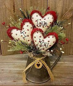 "Primitive Handmade Winter Christmas 9"" Valentine I Love You Hearts Decoration in Home & Garden, Holiday & Seasonal Décor, Christmas & Winter | eBay"