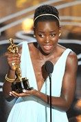 """Oscars 2014 Lupita Nyong'o sheds a few tears as she collects an Oscar for Best Supporting Actress for her role in 12 Years A Slave. """"It doesn't escape me for one moment that so much joy in my life is due to so much pain in someone else's,"""" she said during her acceptance speech, referring to the real-life slaves that the film is based on."""