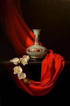 Manyung Gallery Group Pippa Chapman Orchideen in rot - Still Life Drawing, Still Life Oil Painting, Still Life Art, Dark Photography, Still Life Photography, Still Life Pictures, Dutch Still Life, Gifts For Photographers, Arte Floral