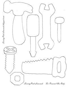 Serving Pink Lemonade: Felt Tools~ I think the hammer would make a cute card