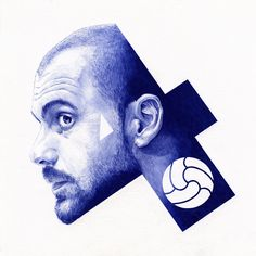 """Football Portraits by Chamo San Cool illustrations of football players by Chamo San, from Barcelona. """"I'm a football lover and I ever wanted to create something around this amazing world. Pep Guardiola, Graphic Design Typography, Graphic Design Art, Painting Quotes, Illustration, Grid Design, Sports Art, Art Direction, Creative Art"""