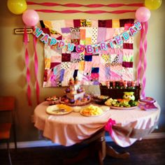 Owl birthday party for my daughters first birthday. I made the crazy quilt on the wall.