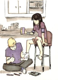 "Clint Barton & Kate Bishop Hawkeye squared wombatking replied to your post""Fanart prompts. Prompt for fanarts…."" ""Clint signing Kate's cast after she hurts her ankle? He gets beat up so often compared to her that it's probably a rare..."