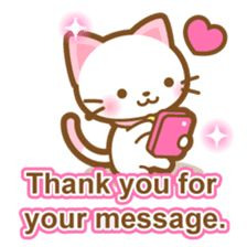 White&pink colored Cat-English- by warmthcreate Cute Love Cartoons, Kawaii, Love Stickers, Chat App, Cute Little Animals, Cartoon Pics, Cute Drawings, Peace And Love, Game Art