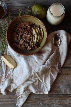 Millet and Pear Porridge with Carob Sauce