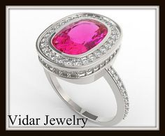 Royal Pink Sapphire And Diamond 14k White Gold Engagement Ring  Pop the question with this beautiful pink Sapphire cushion cut engagement ring!  Metal/weight/detail: 14K White/Yellow/Rose, About 4Gr.   Gemstone: Pink Sapphire   Carat Weight: About 2.3ct  Color/Clarity: Deep Pink/VS  Size/Cut/Shape: 9X6mm cushion, very good    Side Gemstone: Diamonds  Carat Weight: totla: 0.37Ct   Color/Clarity: G/VS  Size/Cut/Shape: 77 stones 1mm round, very good $3199