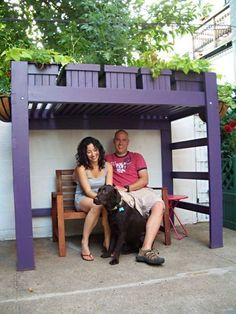A Bunkbed repurposed as an 'Arbor' for shade and gardening in pots above. This would be great in a garden bed as well with morning glories or a clematis vining up the ladder!