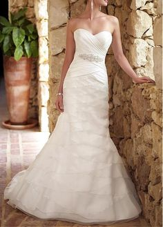 Graceful Satin & Organza Satin A-line Strapless Sweetheart Natural Waist Tiered Wedding Dress With Beadings and Rhinestones