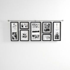 "choose black, espresso or white finish holds seven 4x6 (four portrait and three landscape), two 3x5 (landscape) and two 5x7 (portrait) photos arrives with hanging template and easy instructions 42 1/2"" x 15 3/4""H overall"