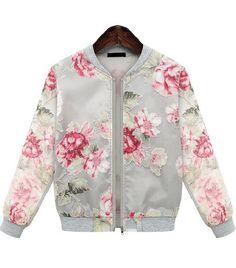Grey Long Sleeve Florals Print Organza Jacket
