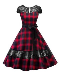 Hepburn dress English tartan checks plaid lace dress with sash pin up rockabilly swing flare dress robe vestidos Mode Outfits, Fashion Outfits, Dress Fashion, Dress Outfits, Lolita Fashion, Modest Fashion, Fashion Boots, Fashion Fashion, Trendy Fashion