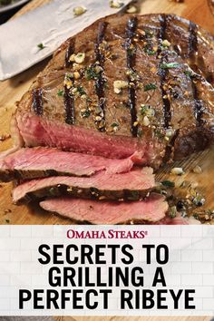 Learn how to grill the perfect ribeye from America's expert, Omaha Steaks. Our complete how-to guide will show you how to sear a steak to juicy perfection. Steak On Gas Grill, Ribs On Grill, Rib Eye Recipes, Steak Recipes, Steak Cooking Times, Cooking Tips, Grilling Tips, Grilling Recipes, Cooking The Perfect Steak