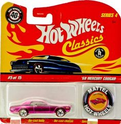 2007 - Mattel - Hot Wheels Classics - Series 4 - 40th Anniversary - #5 of 15 - '68 Mercury Cougar - Matching Button - Special Chrome Pink Paint - Red Line Wheels - Thailand Chassis - New - Out of Production - Limited Edition - Collectible by Mattel. $14.99. Special Chrome Pink Paint - Red Line Wheels - Thailand Base. Out of Production - 1:64 Scale Die Cast Metal. New - Mint - Rare - Limited Edition - Collectible. 2007 - Mattel - Hot Wheels Classics - Series 4 - ...