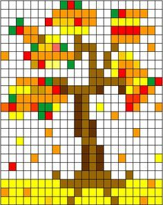 autunno Beaded Flowers Patterns, Pony Bead Patterns, Cross Stitch Charts, Cross Stitch Patterns, Free Printable Puzzles, Sea Drawing, Pixel Art Templates, Computer Coding, Halloween Embroidery