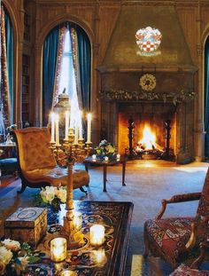 glam and luxury by candlelight and fireplace romance