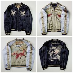 Vintage Japanese Dragon Ryu Deer Fujisan Mt. Fuji JAPAN Embroidered Sukajan Souvenir Jacket - Japan Lover Me Store