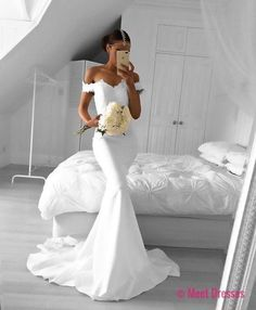 White Mermaid Prom Dress, Off the Shoulder Prom Dress, Lace Prom Dress, White Formal Dresses, Woman Evening Gown, White Gown PD20186825