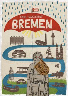 BREMEN POSTKARTE // POSTCARD von der Bremer Illustratorin shortriver. Gibt´s auch als Poster. #bremen #xmas #Geschenkidee