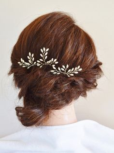 Item # HP-030: This listing is for a set of three (3) only rice pearl branch bridal hair pins. These 3 hair pins are very versatile, they can