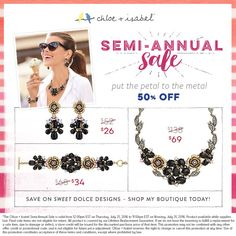 Our Semi-Annual Sale is in full bloom – save up to 65% on my boutique today!  http://www.chloeandisabel.com/boutique/adesardinas