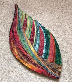 mosaic leaves ~ Would love to do this with beads