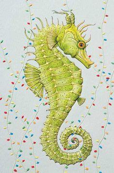 Seasonal Seahorse Embossed Christmas Cards