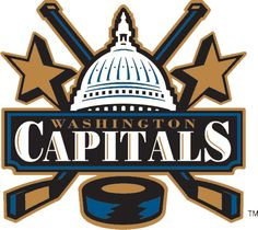 Washington Capitals Primary Logo - U. Capitol dome flanked by hockey sticks and stars Nhl Logos, Hockey Logos, Sports Team Logos, Sports Teams, Caps Hockey, Hockey Goalie, Hockey Teams, Ice Hockey, Washington Capitals Logo