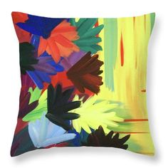 Flowers Yellow Throw Pillow featuring the painting Falling Flowers by Jilian Cramb - AMothersFineArt Simple Flowers, Fall Flowers, Lisa Johnson, Funny Pillows, Sketching Techniques, Yellow Throw Pillows, Flower Artists, Pillow Reviews, Round Pillow
