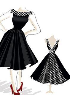 Rockabilly Dress Robes Vintage, Dress Patterns Rockabilly, Retro Dress, 50s Inspired Fashion, 1950s Fashion, Vintage Fashion, Beautiful Dresses, Pretty Dresses, Rockabilly Wedding