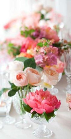 alternative to table runner/garland - use LOTS of tiny clear vases with the peonies, ranunculus etc.