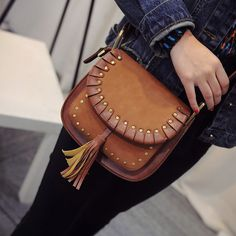 Vintage style saddle rivet bag pu leather small shoulder bags tassel brown crossbody bags for women Leather Tooling, Leather Wallet, Pu Leather, Leather Bags Handmade, Leather Craft, Brown Crossbody Bag, Leather Projects, Small Shoulder Bag, New Bag
