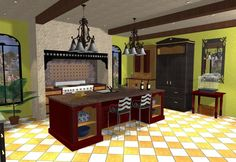 Mediterranean styled kitchen with large island, stone hearth and refrigerator armoire Mediterranean Kitchen, Timber Beams, Functional Kitchen, Architectural Features, Travertine, Hearth, Natural Wood, Refrigerator, Armoire