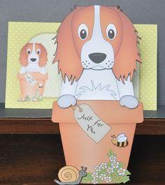 3D On the Shelf Card Kit - Flower Pot Friends Little Springer Spaniel Dog Baxter by Barbara Stubbings - Allsorts of Crafts