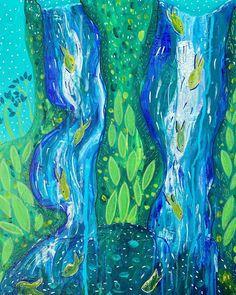 "Anna Just on Instagram: ""Finished waterfalls on canvas.  #acrylicpainting #canvasartwork #waterfallpainting #fishpainting #annajustart #bluethumbartist"" Waterfall Paintings, T Art, Mixed Media Artwork, Canvas Artwork, Waterfalls, Anna, Artist, Instagram, Art On Canvas"