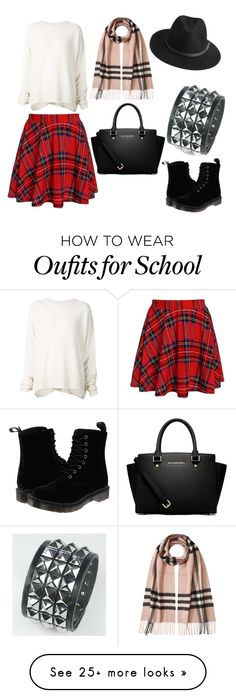 """School"" by msvallet on Polyvore featuring URBAN ZEN, Dr. Martens, MICHAEL Michael Kors, BeckSöndergaard and Burberry"
