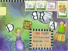 Kathy Lewis envelope art/ Mabel & Hortense