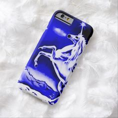 Blue Unicorn Night Airbrush Art iPhone 6 Case by BOLO Designs.