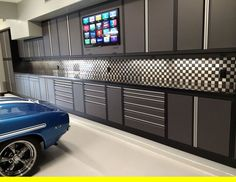 Tool Room With Garage Shelving and Overhead Storage. Tool Room With Garage Shelving and Overhead Storage. Garage Renovation, Garage Remodel, Garage Shed, Garage Workshop, Garage Workbench, Garage Doors, Detached Garage, Garage Storage Solutions, Garage Organization