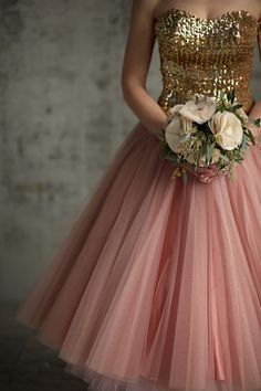 Vintage party dress with gold sequin top and layers of pink tulle.
