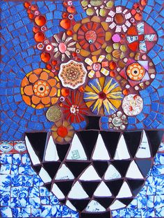 Orange on Blue by Sophie Robins Mosaics