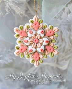 Handcrafted Polymer Clay Ornament by Kay Miller on Etsy by Solange Del Pozzo Polymer Clay Owl, Polymer Clay Ornaments, Polymer Clay Projects, Polymer Clay Creations, Polymer Clay Jewelry, Clay Crafts, Crea Fimo, Polymer Clay Christmas, Clay Design