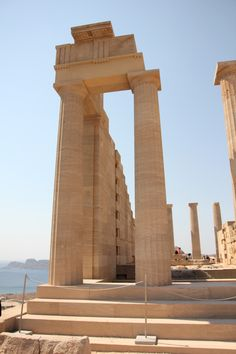 Rhodes Greece Food & Travel Diary - My Kiki Cake - Acropolis columns in Lindos