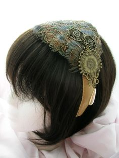 steampunk peacock headband